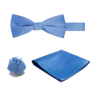 Men's 3-piece Pretied Banded Bowtie, Hanky and Rose Lapel Flower Set