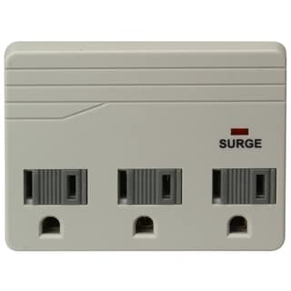 Woods 411048821 3-Outlet 750 Joules Lt Grey Wall Tap Surge Protector Adapter