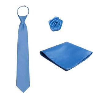 Men's 3-piece Pre-Tied Zipper Tie, Hanky and Open Rose Lapel Flower Set