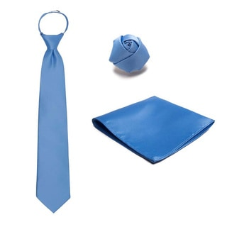 3-piece Pre-tied Zipper Tie, Hanky and Rose Lapel Set