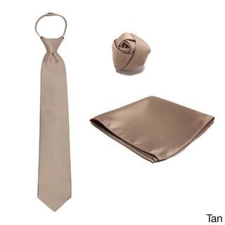 3-piece Pre-tied Zipper Tie, Hanky and Rose Lapel Set