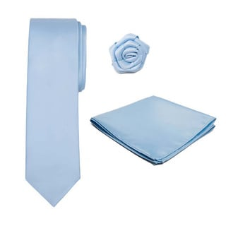 Tie, Hankerchief and Rose Lapel Flower 3-piece Accessory Set