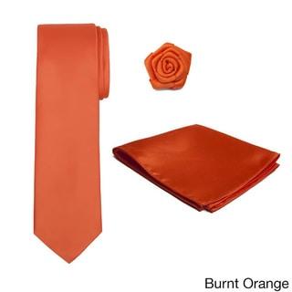 Tie, Hankerchief and Rose Lapel Flower 3-piece Accessory Set