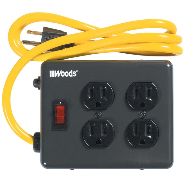 Shop Woods 02177 4\' 15 Amp 4-Outlet Power Strip - Free Shipping On ...