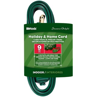 Woods 12601G 9' Green 3 Outlet 16/2 Gauge Indoor Extension Cord