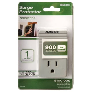 Woods 41000-88-21 1-Outlet 900 Joules Light Grey Surge Protector Adaptor
