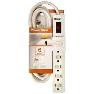 Woods 414048801 6-Outlet White Power Strip With 8' Cord