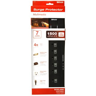 Woods 41603-88-11 4' Cord 7-Outlet 1500 Joules Black Surge Protector