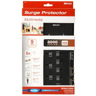 Woods 41652-88-11 9-Outlet 3000 Joules Black Surge Protector With 6' Cord