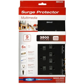 Woods 41653-88-11 9-Outlet 3500 Joules Black Surge Protector With 6' Cord
