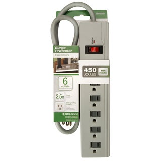 Woods 414518801 6-Outlet 450 Joules Lt Grey Surge Protector W/2½' Cord