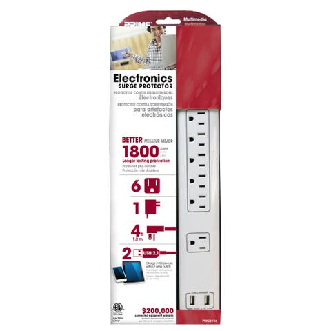 Prime PB525106 6-Outlet 14/3 SJT White Electronics Surge Protector