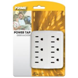 Prime PB801011 6 Outlet White Power Tap