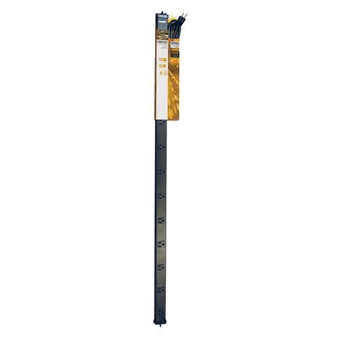 Prime PB800012 12 Outlet 4' Black Metal Power Strip W/6' Cord