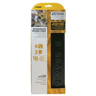 Prime PB801120 6 Outlet Black Metal Power Strip With 10' Cord