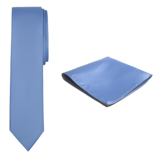 Jacob Alexander Men's Solid Color Skinny Tie and Hanky Set