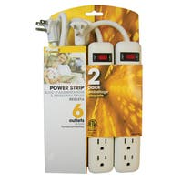 Prime PB8100X2 6 Outlet White Power Strip With 3' Cord 2-count