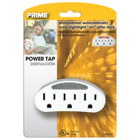 Prime PBADL101 3 Outlet White Power Tap With Photocell Nightlight