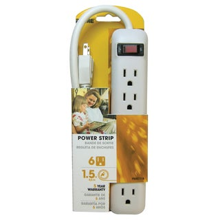 Prime PB801118 6 Outlet White Power Strip With 1-1/2' Cord
