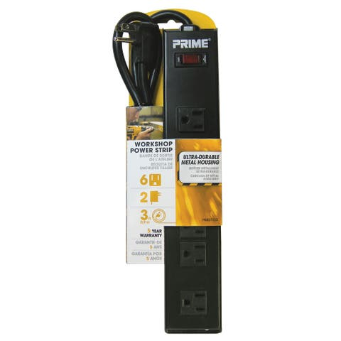 Prime PB801123 6 Outlet Black Metal Power Strip With 3' Cord