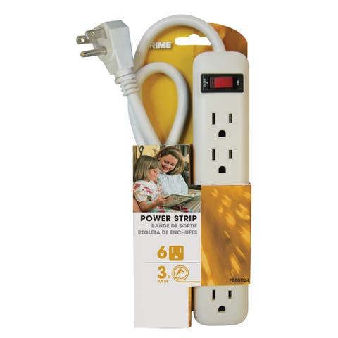 Prime PB801124 6 Outlet White Power Strip With 3' Cord