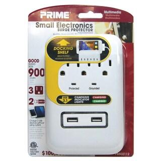 Prime PB802112 3 Outlet White 900J Surge Tap