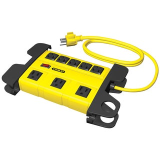 Stanley 31606 8 Outlet Yellow & Black Metal Power Block With 6' Cord