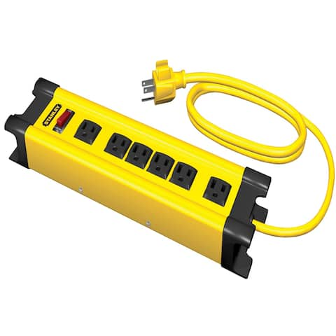 Stanley 31608 6 Outlet Yellow & Black Metal Power Strip With 10' Cord