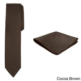 Jacob Alexander Men's Solid Color Skinny Tie and Hanky Set