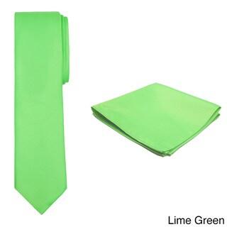 Jacob Alexander Men's Solid Color Slim Tie and Hanky Set