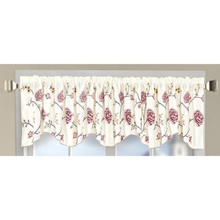 Serenta Embroidery Red/Gold Spring Flower Valance