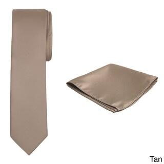 Jacob Alexander Men's Solid-Color Slim Tie and Hanky Set