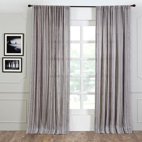 Porch & Den Blakeley Linen French Stripe 96-inch Curtain Panel
