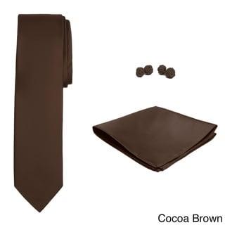Jacob Alexander Men's Solid-color Microfiber Skinny Tie Hanky and Cufflink Set