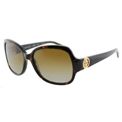 Tory Burch TY 7059 1378T5 Butterfly Dark Tortoise Plastic Square Brown Gradient Lens Sunglasses
