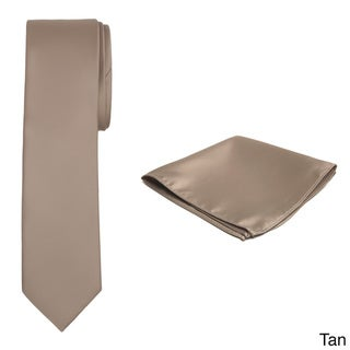 Jacob Alexander Men's Solid Color Tie and Hanky Set