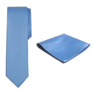 Jacob Alexander Men's Solid Color Tie and Hanky Set
