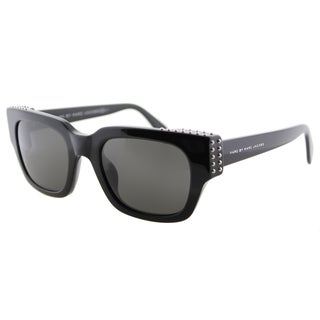 Marc by Marc Jacobs MMJ 485/Studs 807 Black Plastic Square Cat-Eye Grey Lens Sunglasses