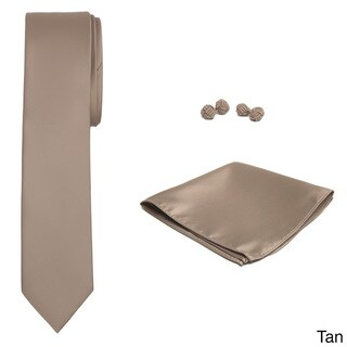 Jacob Alexander Men's Solid Color Skinny Tie, Hanky and Cufflink Set