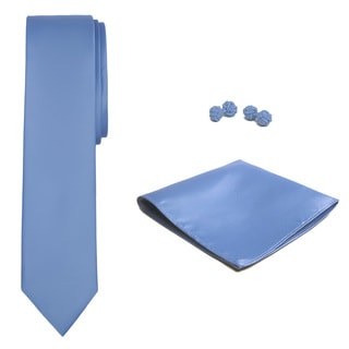 Jacob Alexander Men's Solid Color Skinny Tie, Hanky and Cufflink Set