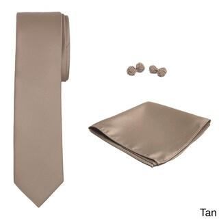 Jacob Alexander Men's Solid Color Slim Tie, Hanky and Cufflink Set