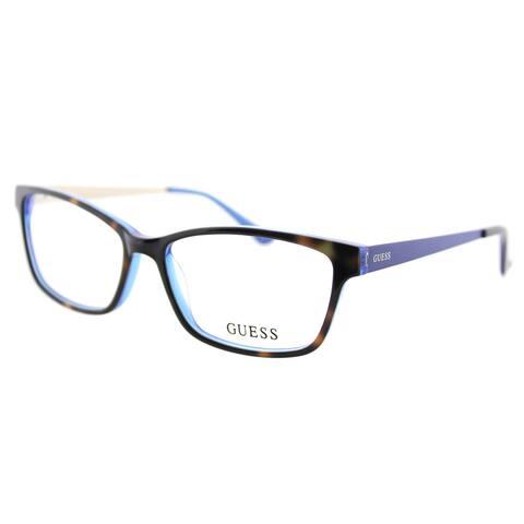 Guess GU 2538 052 Dark Havana Blue Plastic Cat-Eye 55mm Eyeglasses