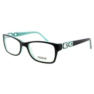 Guess GU 2406 BLGRN Petite Fit Black on Turquoise Plastic Cat-Eye 52mm Eyeglasses