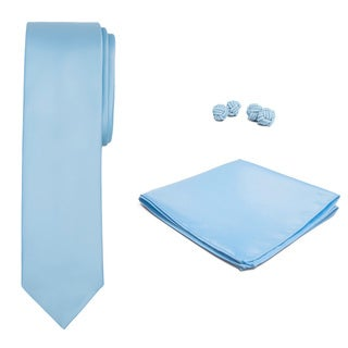 Jacob Alexander Men's Solid Color Slim Tie, Hanky and Cufflink Set