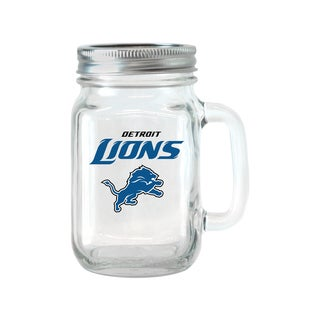 Detroit Lions 16-ounce Glass Mason Jar Set
