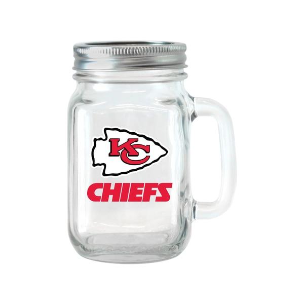 Kansas City Chiefs 16-ounce Glass Mason Jar Set