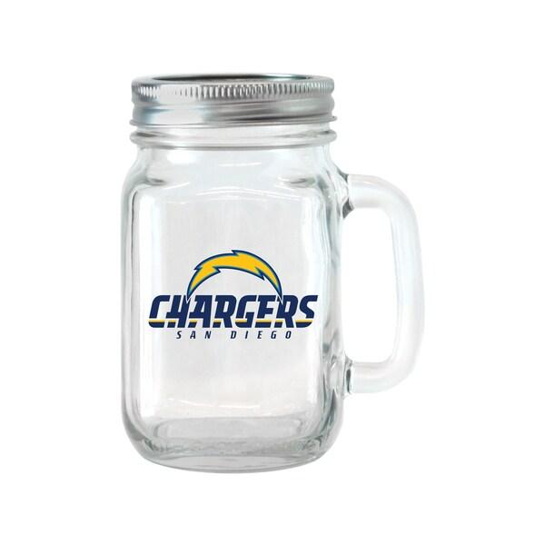 San Diego Chargers 16 Ounce Glass Mason Jar Set Free