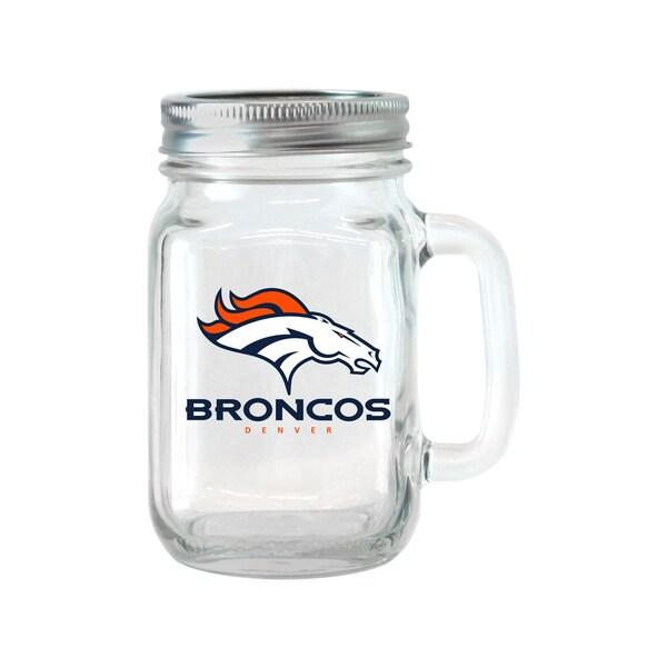 Denver Broncos 16-ounce Glass Mason Jar Set