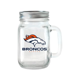 Denver Broncos 16-ounce Glass Mason Jar Set