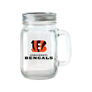 Cincinnati Bengals 16-ounce Glass Mason Jar Set